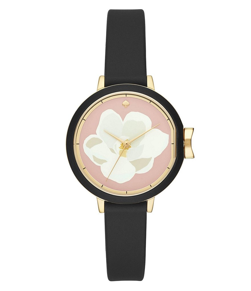 kate spade new york park row silicone strap flower dial watch