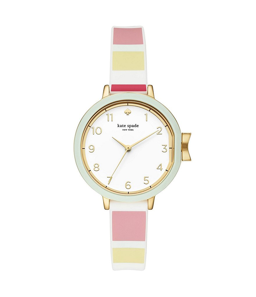 kate spade new york Park Row Analog Striped Silicone-Strap Watch