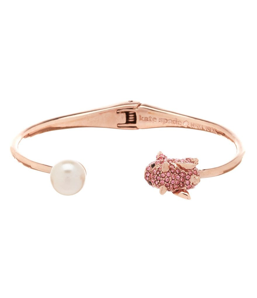 kate spade new york Pavé Pig & Faux-Pearl Hinge Bangle Bracelet
