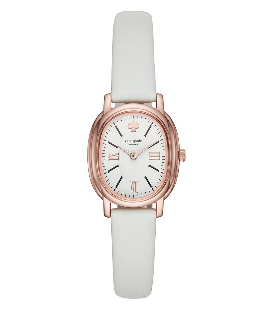 kate spade new york pink IP and white leather staten watch