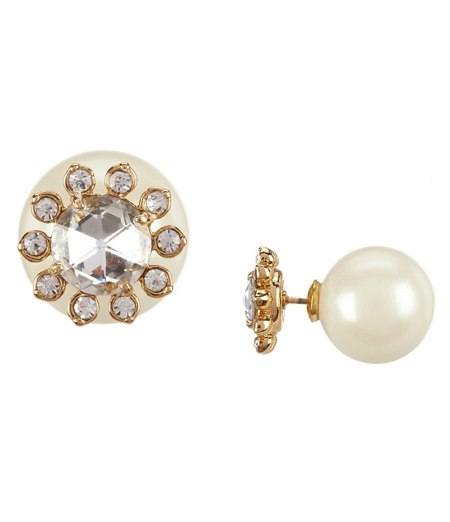kate spade new york Second Nature Flower & Faux-Pearl Reversible Front/Back Earrings