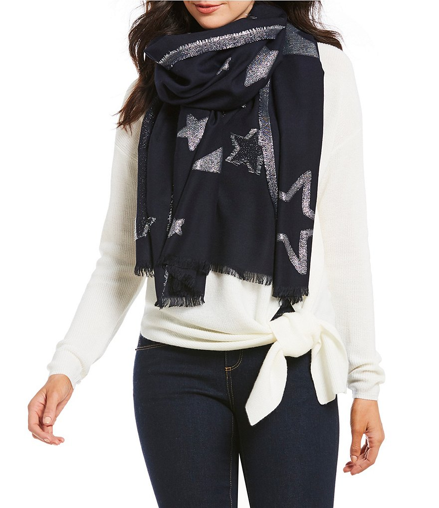 kate spade new york Starry Sky Metallic Jacquard Oblong Scarf
