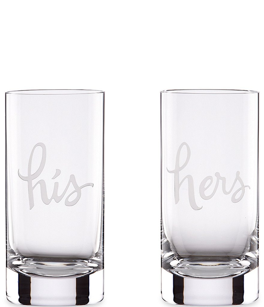 kate spade new york Two of A Kind His & Hers Wedding Highball Glass Pair