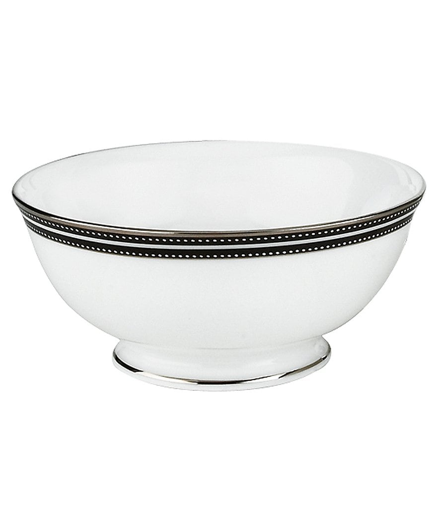 kate spade new york Union Street Striped & Dotted Platinum China Fruit Bowl