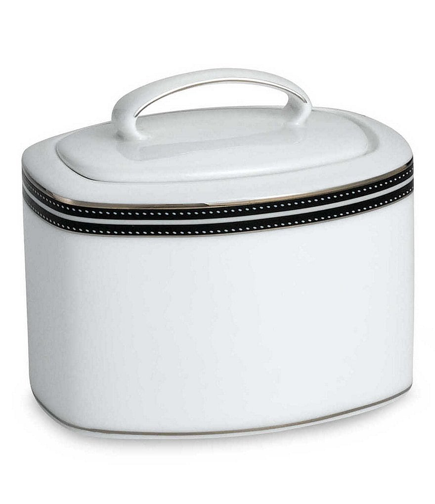 kate spade new york Union Street Striped & Dotted Platinum Sugar Bowl