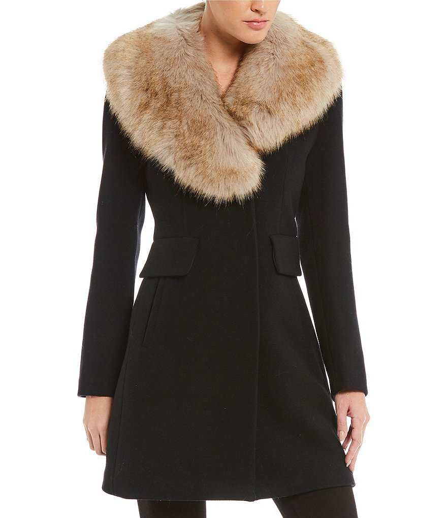 kate spade new york Walker Coat with Removable Faux-Fur Collar ...