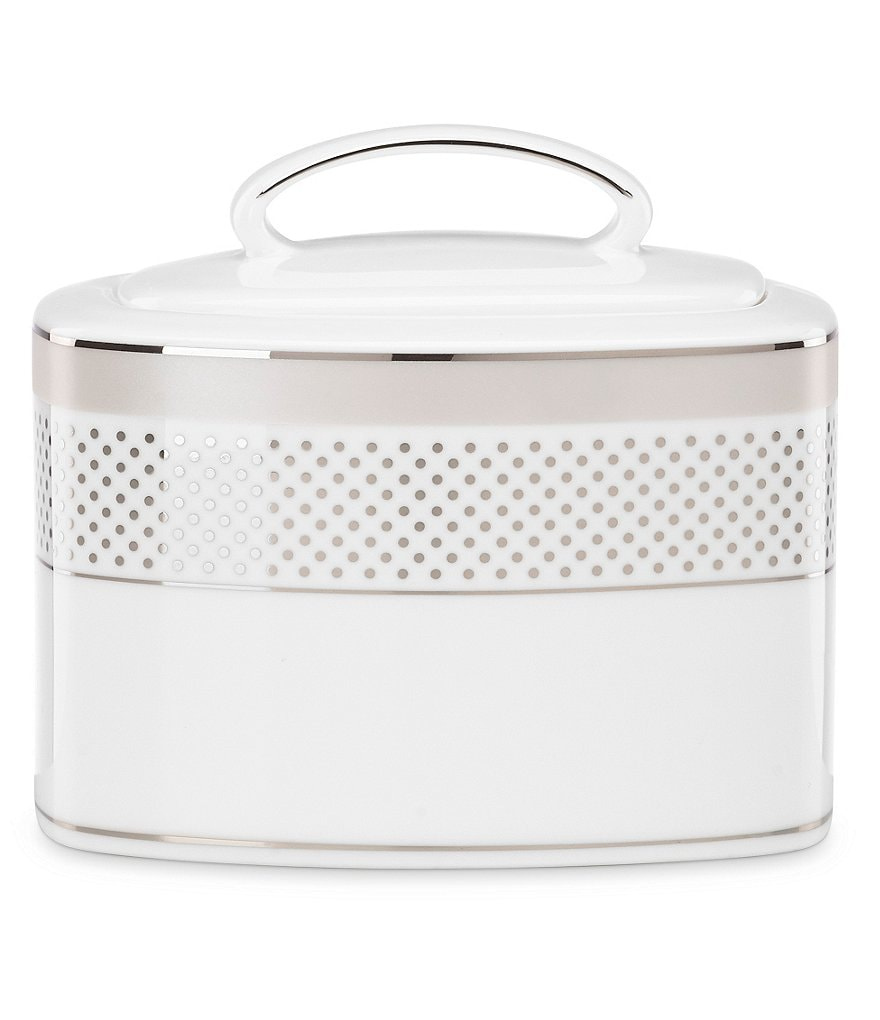 kate spade new york Whitaker Street Dotted & Striped Platinum Bone China Sugar Bowl with Lid