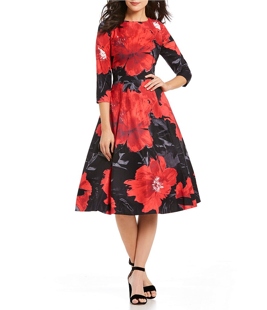 Kay Unger Floral Midi Dress