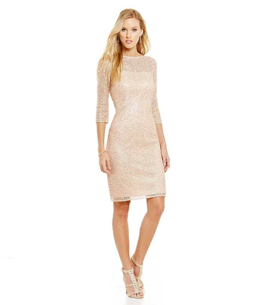 Kay Unger Sequin Lace Cowl Back Dress
