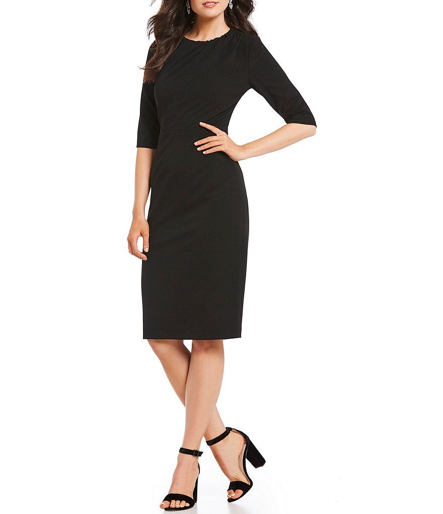 Kay Unger Stretch Scuba Crepe Sheath Dress