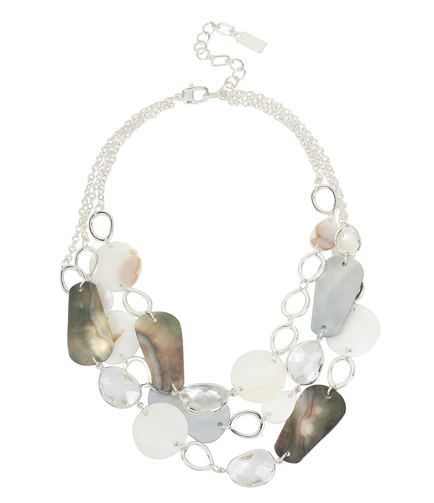 Kenneth Cole Mixed Shell Multi Row Statement Necklace