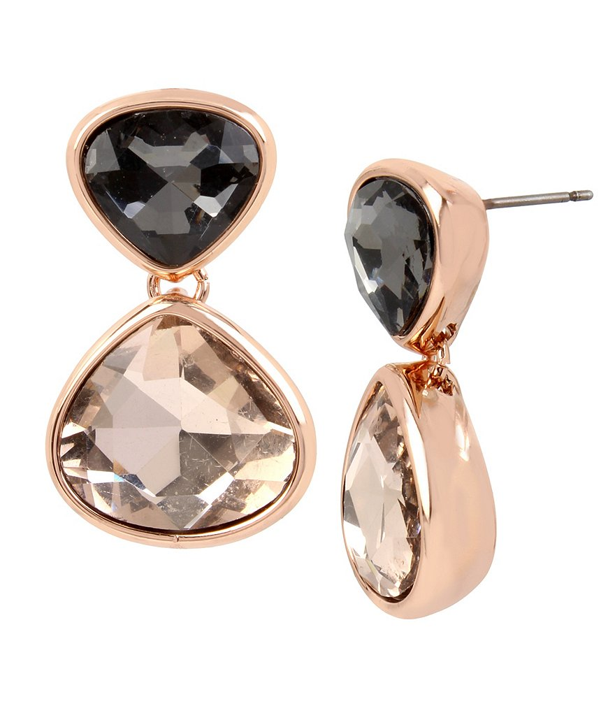 Kenneth Cole New York Black Diamond and Blush Stone Drop Earrings
