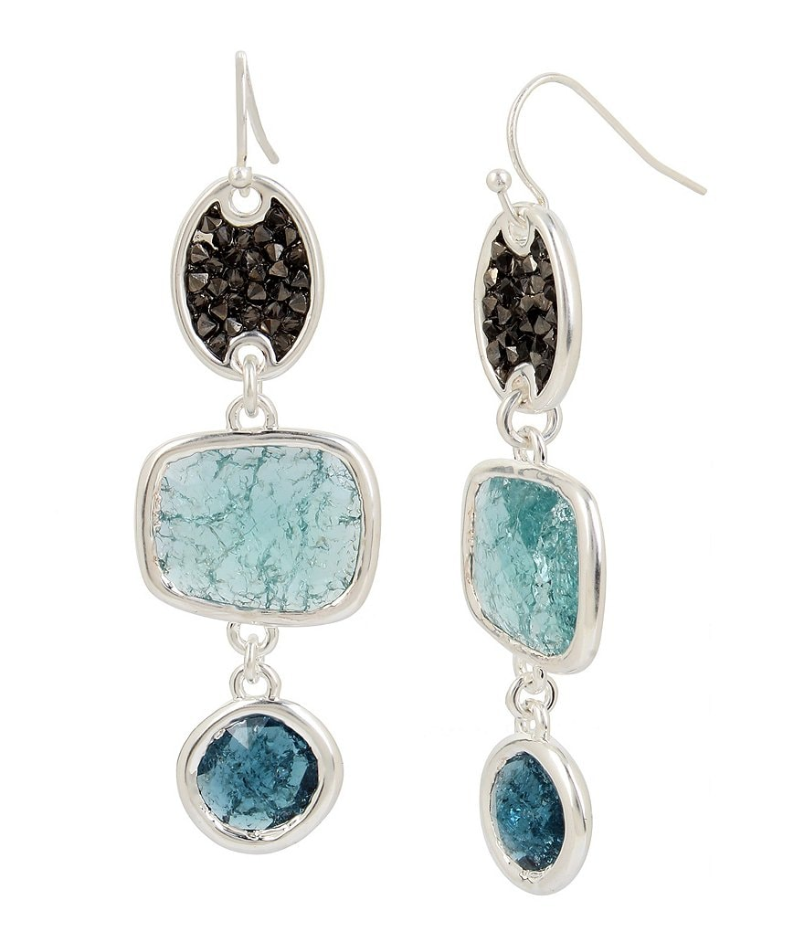 Kenneth Cole New York Crackle Stone Linear Drop Statement Earrings
