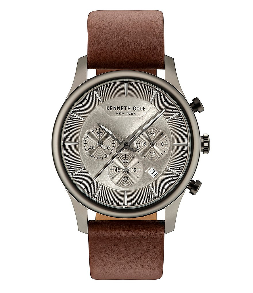 Kenneth Cole New York Dress Sport Chronograph & Date Leather-Strap Watch