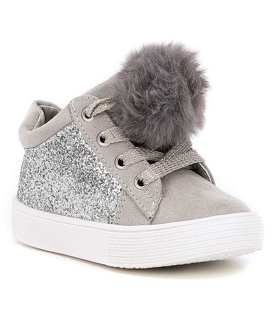 Kenneth Cole New York Girls' Kam Kid-T Hi-Top Clitter and Pom Pom Sneakers