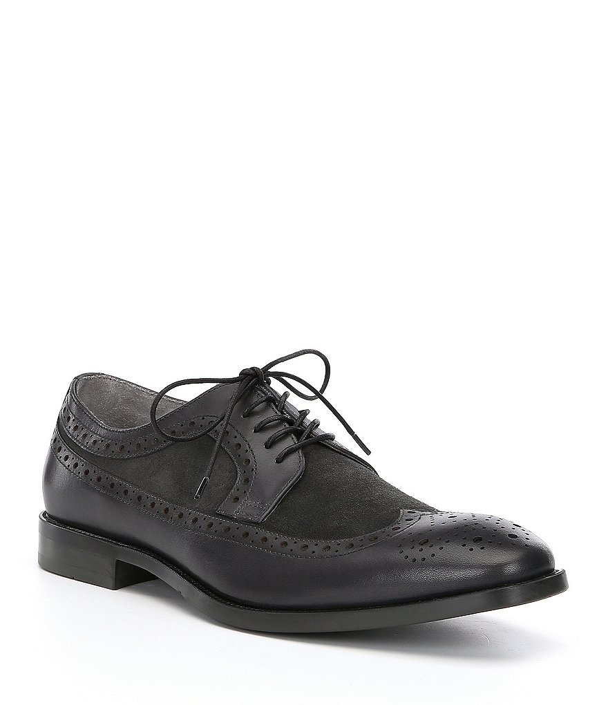 Kenneth Cole New York Men's Ticket Leather and Suede Wingtip Detail Oxfords