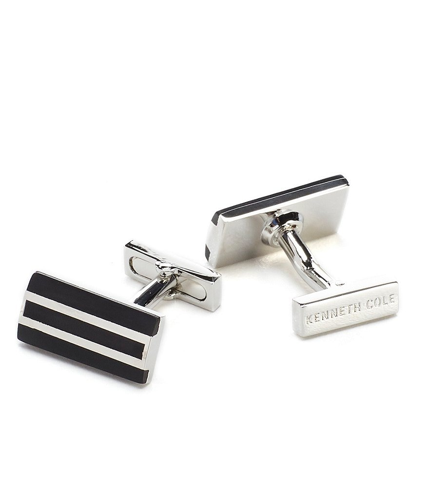 Kenneth Cole New York Rectangle Detail Cuff Links