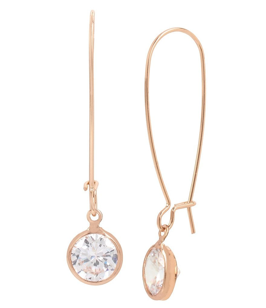 Kenneth Cole New York Rose Gold and CZ Stone Earrings