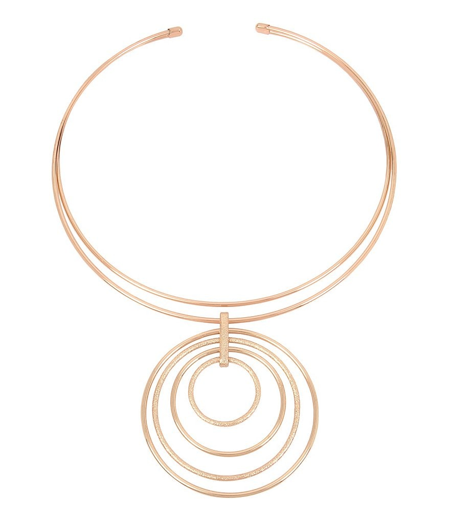 Kenneth Cole New York Rose Gold Collar Statement Necklace