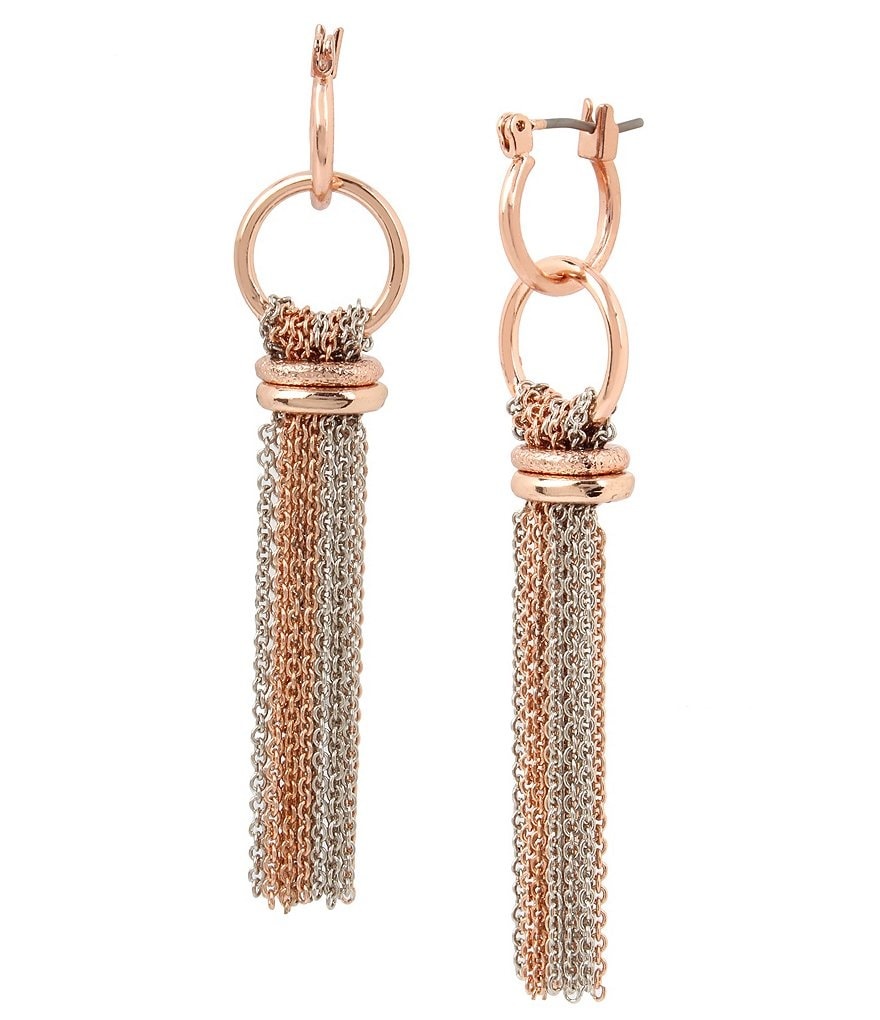 Kenneth Cole New York Rose Gold Double Drop Tassel Statement Earrings