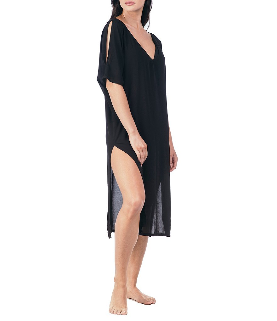 Kenneth Cole New York Sheer Visions Cold Shoulder Caftan Cover-Up