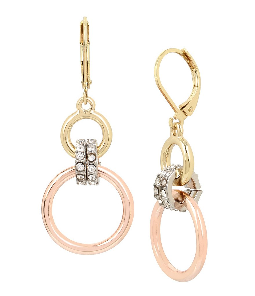 Kenneth Cole New York Tri-Tone Double Drop Earrings