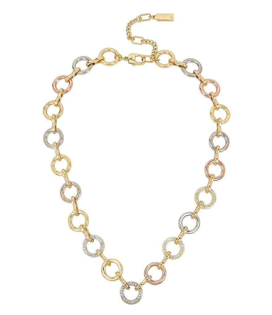 Kenneth Cole New York Tri-Tone Link Collar Necklace