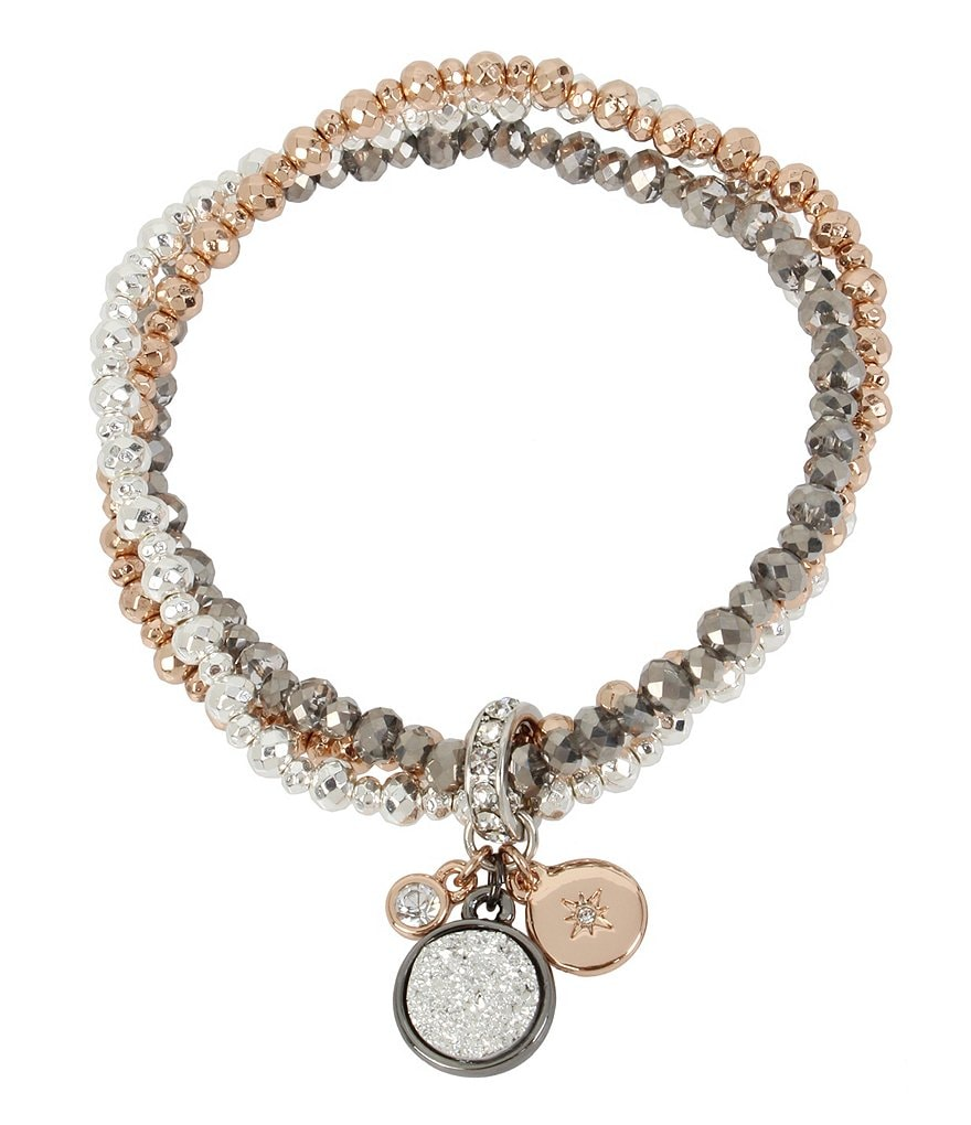 Kenneth Cole New York Tri-Tone Stretch Bracelet with Charms
