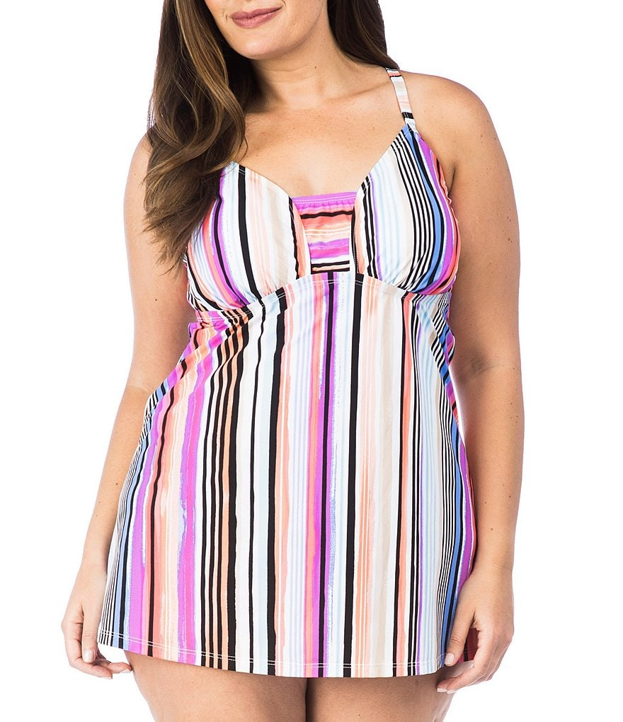 Kenneth Cole Reaction Plus Over The Rainbow Long Tankini Top