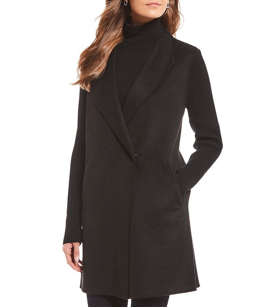 Kenneth Cole Reaction Wool Blend Ribbed Knit Sleeve Coat