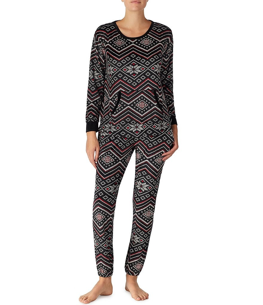 Kensie Chevron Fair Isle-Print Velour Fleece Pajamas