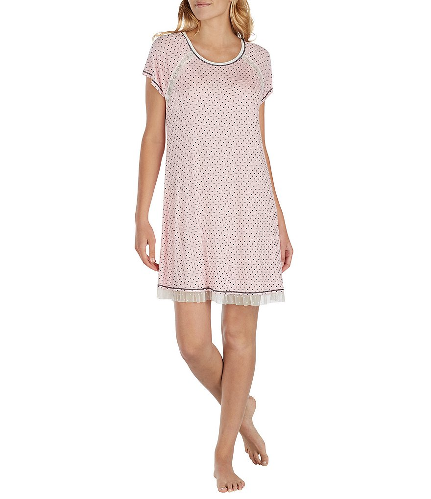 Kensie Lace-Trimmed Dotted Jersey Sleepshirt