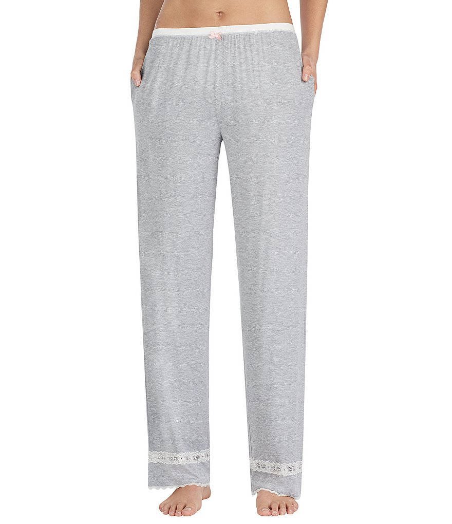 Kensie Lace-Trimmed Jersey Sleep Pants