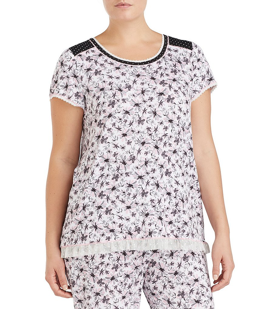Kensie Plus Floral Jersey Sleep Top