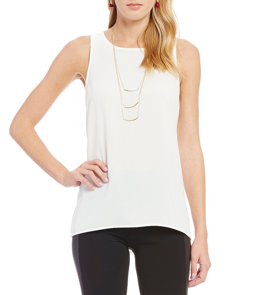 kensie Sleeveless Stretch Crepe Top