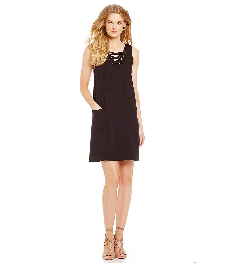 kensie Solid Lace Up Dress
