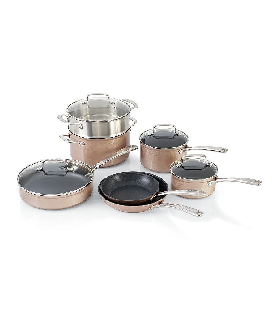 KitchenAid Toffee Delight Hard Anodized Nonstick 11-Piece Cookware ...