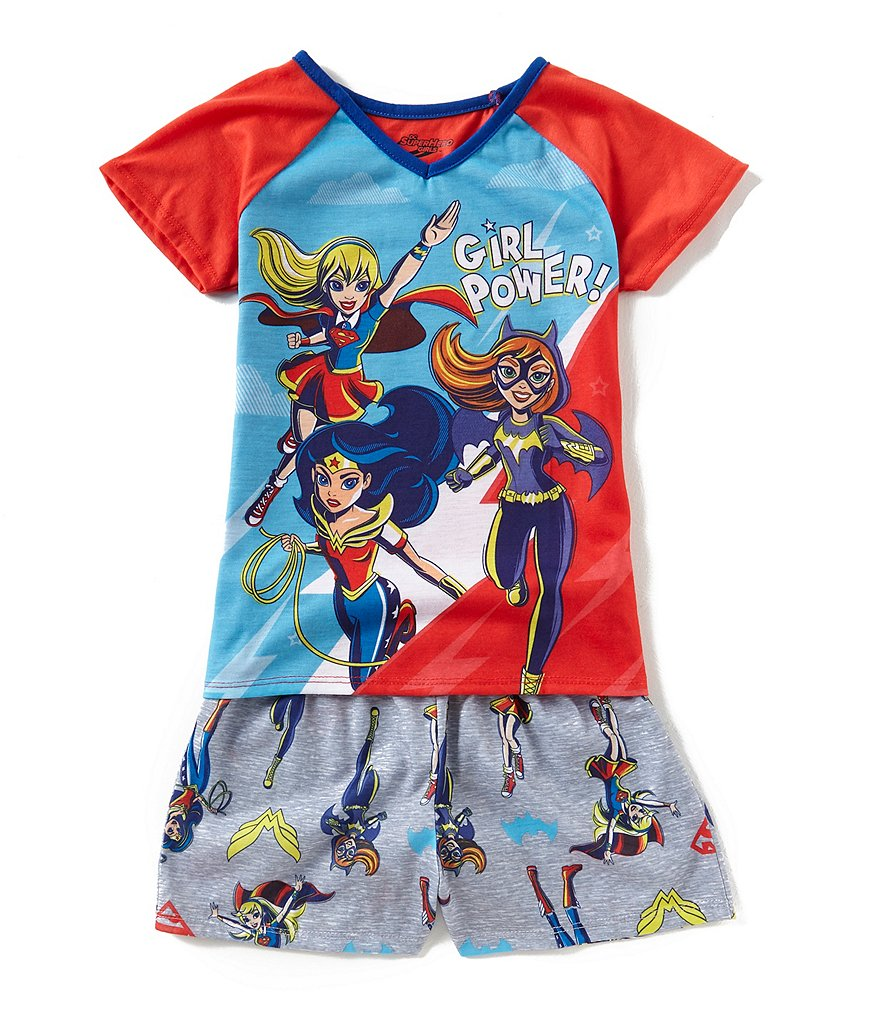 Komar Kids Big Girls 6-16 Girl Power Tee & Printed Shorts 2-Piece Pajamas