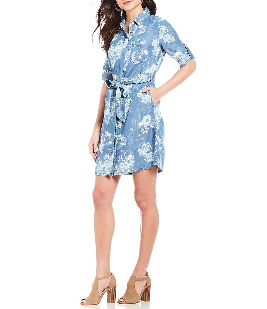 KUT from the Kloth Amerie Floral Print Denim Shirt Dress