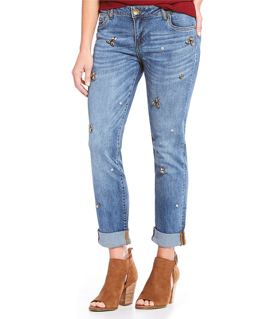KUT from the Kloth Catherine Stone Embellished Boyfriend Jeans