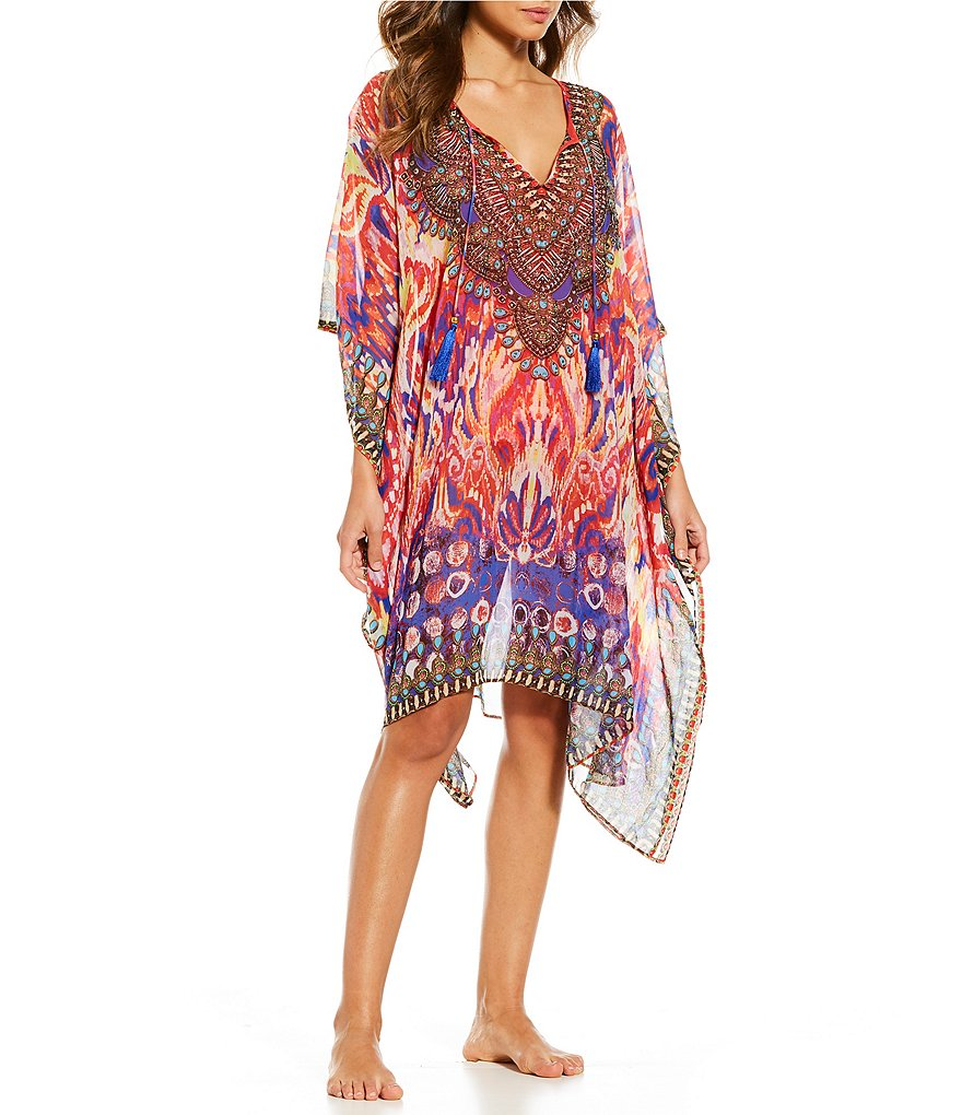 La Moda Art Noveau Caftan Swimsuit Cover-up