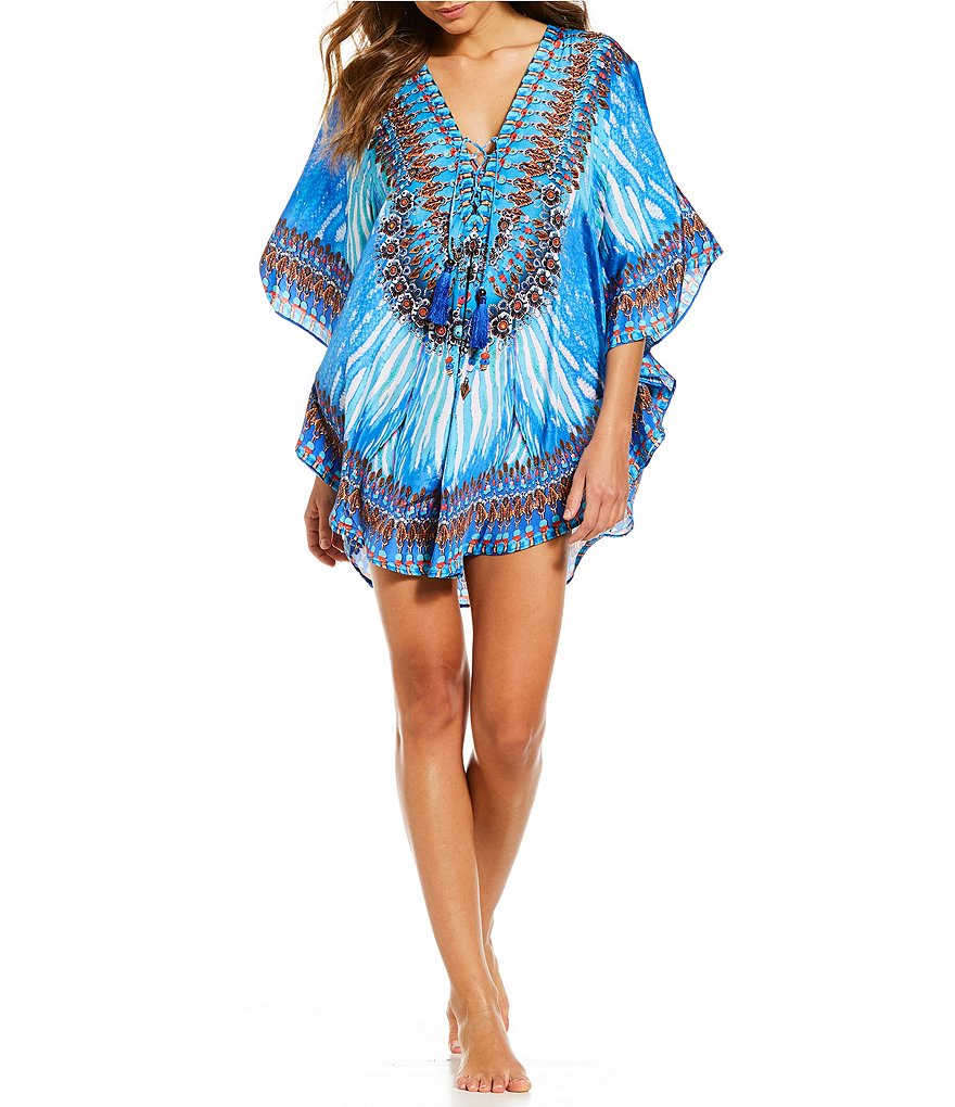 La Moda Blue Wave Tunic Top Swimsuit Cover-up