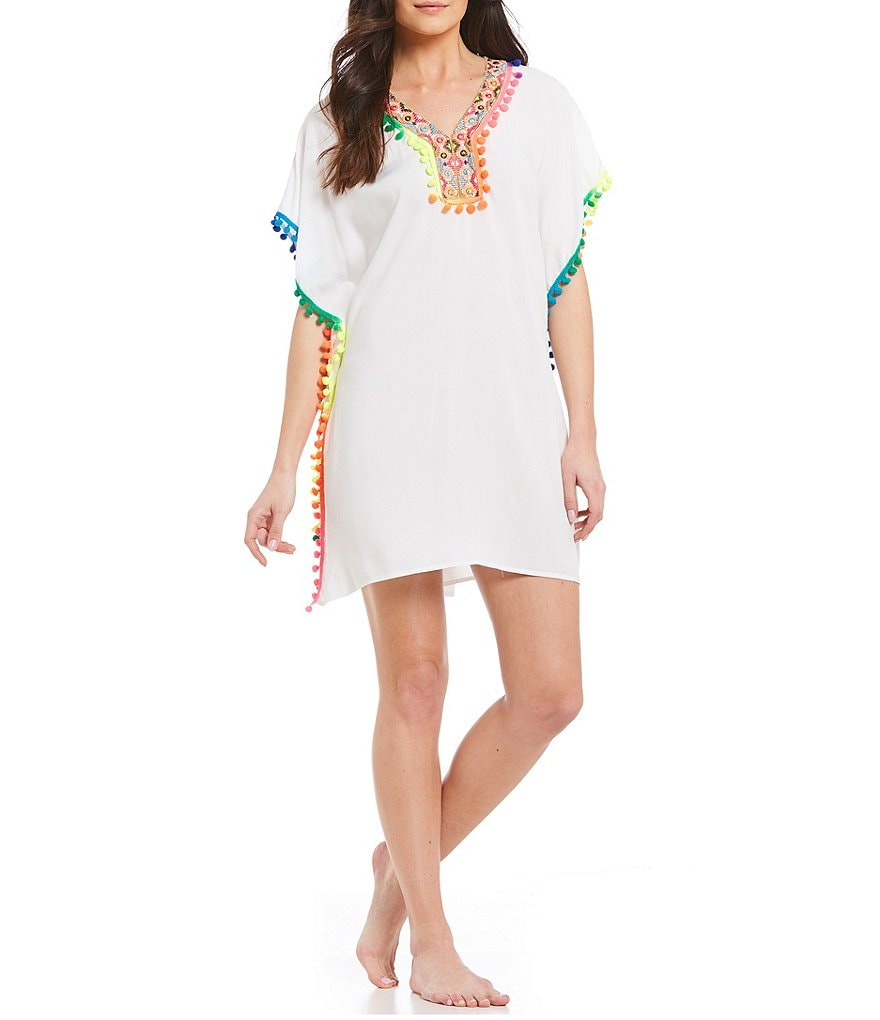 La Moda Embroidered V Neck Side Slit Swimsuit Cover-up