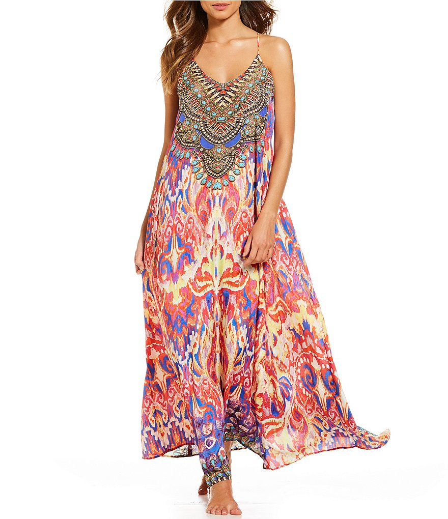 La Moda Purple Passion T-back Maxi Dress Swimsuit Cover-up