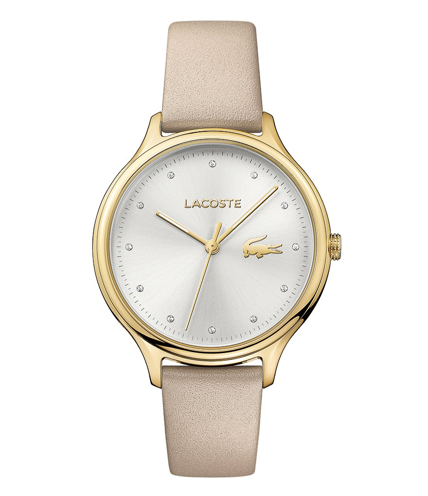 Lacoste Constance Analog Pearlized Leather-Strap Watch