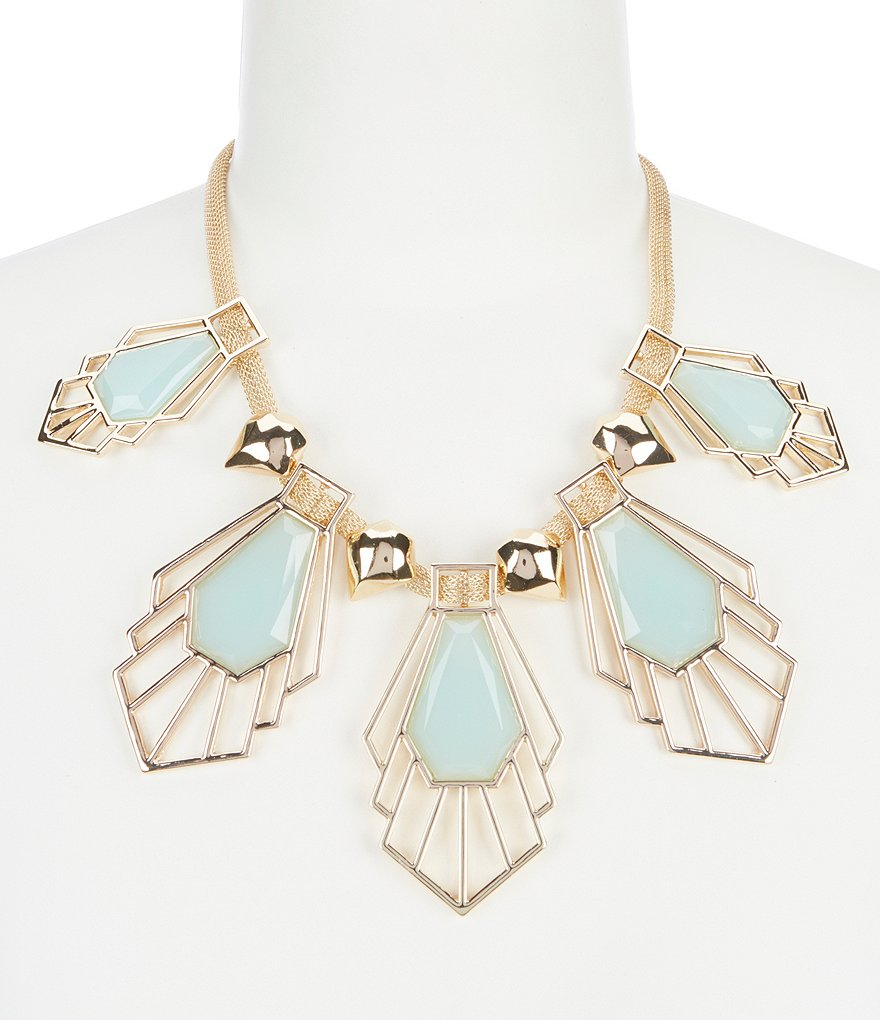 Landry Five Stone Geometric Collar Statement Necklace