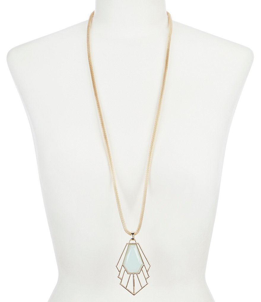 Landry Geometric Stone Long Pendant Necklace