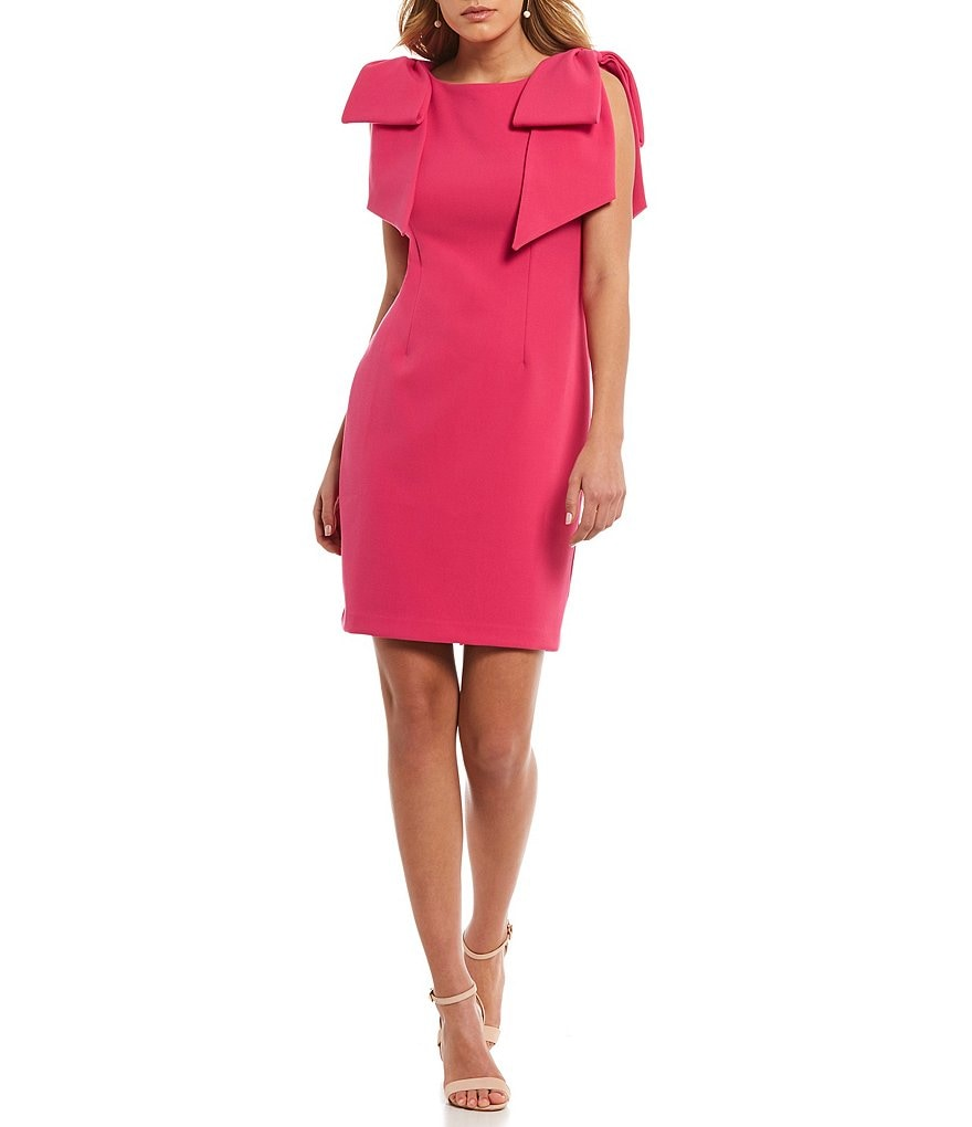 Laundry by Shelli Segal Bow Shoulder Crepe Dress