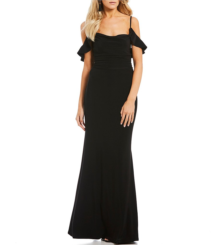 Laundry by Shelli Segal Cold Ruffle Shoulder Jersey Gown