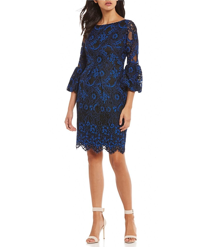 Laundry by Shelli Segal Corded Lace Bell Sleeve Dress